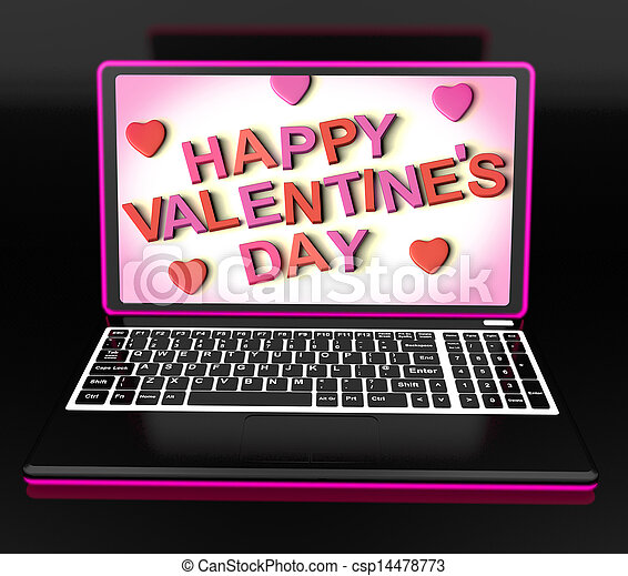 Happy Valentine's Day On Laptop Showing Celebrating Love - csp14478773