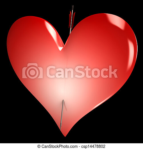 Red Heart Shows Valentines Day Lovers Love - csp14478802