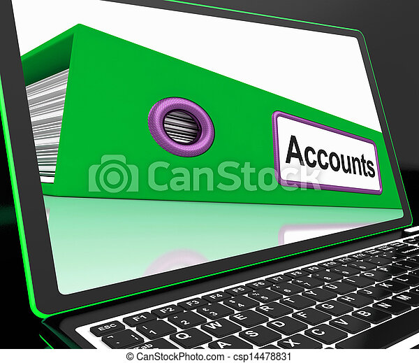 Accounts File On Laptop Shows Accounting - csp14478831