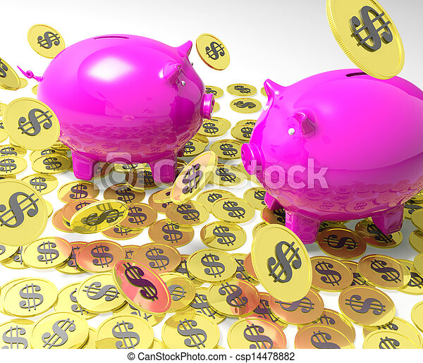 Piggybanks On Coins Showing American Banking - csp14478882