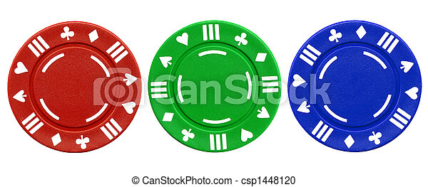Colorful poker chips. - csp1448120