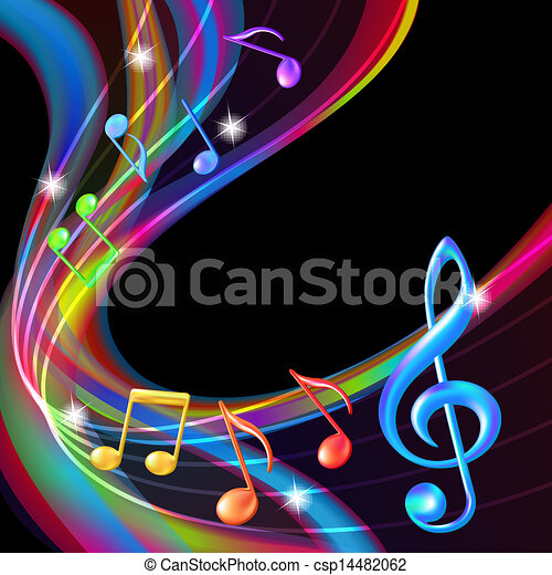 Colorful abstract notes music background. - csp14482062