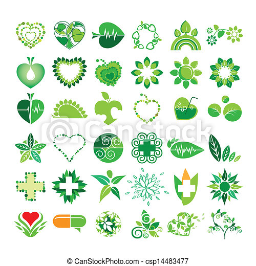 collection of vector logos health and the environment - csp14483477