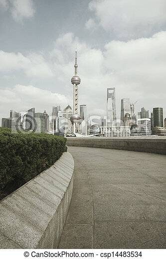 Shanghai bund landmark skyline at city landscape - csp14483534