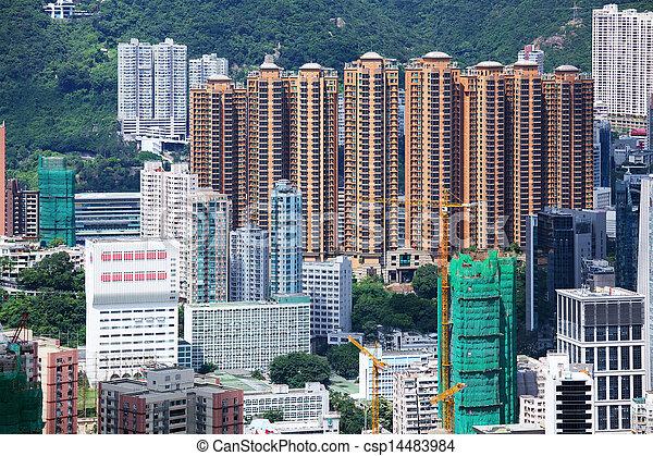 Residential building in Hong Kong at The peak - csp14483984