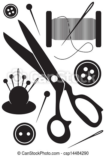 Sewing tools icons - csp14484290