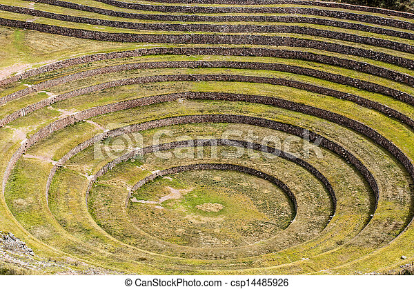 Peru, Moray, ancient Inca circular terraces. Probable there is the Incas laboratory of agriculture  - csp14485926