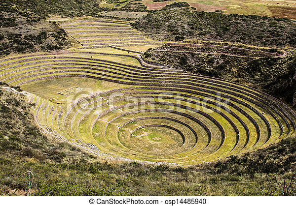 Peru, Moray, ancient Inca circular terraces. Probable there is the Incas laboratory of agriculture - csp14485940
