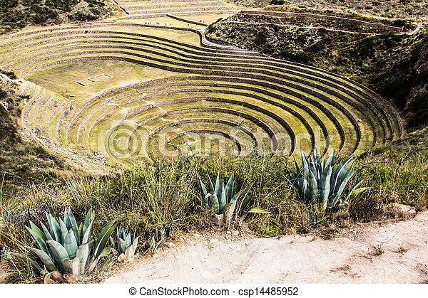 Peru, Moray, ancient Inca circular terraces. Probable there is the Incas laboratory of agriculture - csp14485952