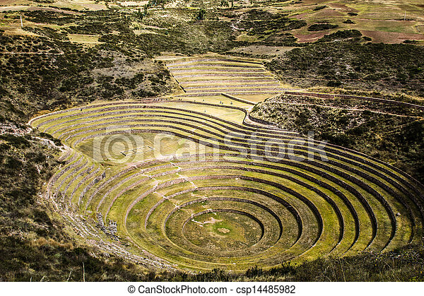 Peru, Moray, ancient Inca circular terraces. Probable there is the Incas laboratory of agriculture  - csp14485982