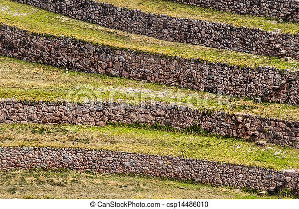 Peru, Moray, ancient Inca circular terraces. Probable there is the Incas laboratory of agriculture  - csp14486010