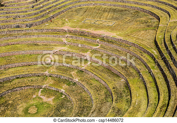 Peru, Moray, ancient Inca circular terraces. Probable there is the Incas laboratory of agriculture - csp14486072