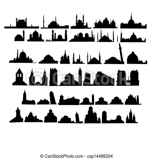 Set of churches and mosques - csp14486204
