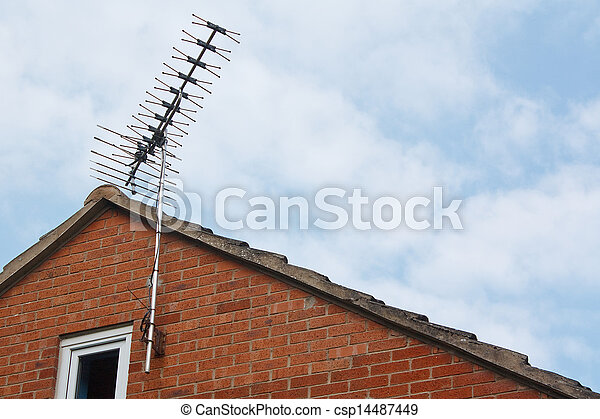 tv aerial on side of modern house - csp14487449
