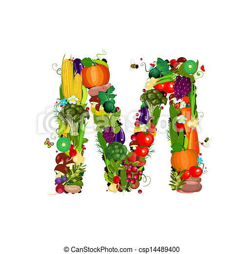 Fresh vegetables and fruits letter M - csp14489400