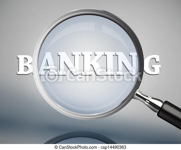 Magnifying glass showing banking wo - csp14490363