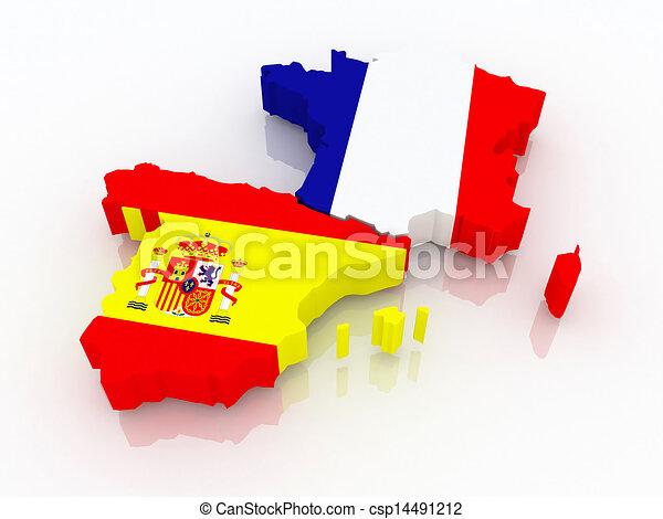 Clipart de carte france espagne carte de france et espagne 3d csp14491212 - Dessin espagne ...