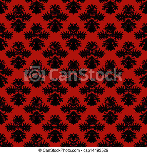 Vector Illustration of Pattern with damask motifs - Simple ...