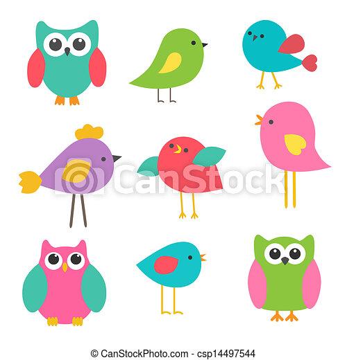 Vector set cute birds and owls - csp14497544