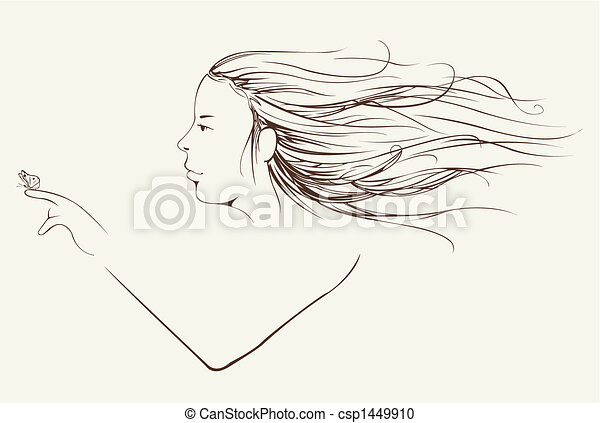 woman with long hair - csp1449910