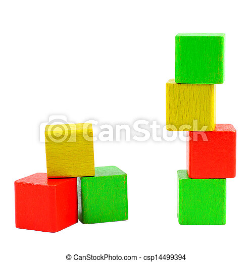 Wooden toy blocks isolated on white - csp14499394
