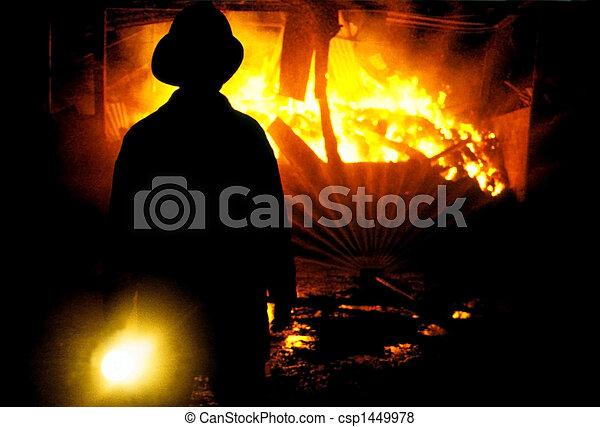 Fireman shing torch - csp1449978