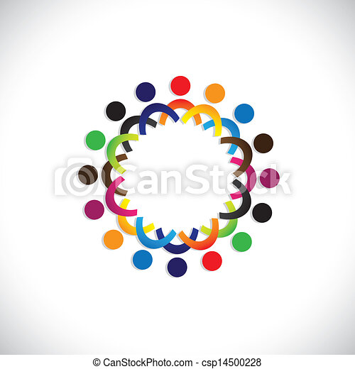 Concept vector graphic- colorful social community of people icons(symbols). The illustration shows concepts like worker unions, employee diversity, community friendship & sharing, kids playing, etc - csp14500228