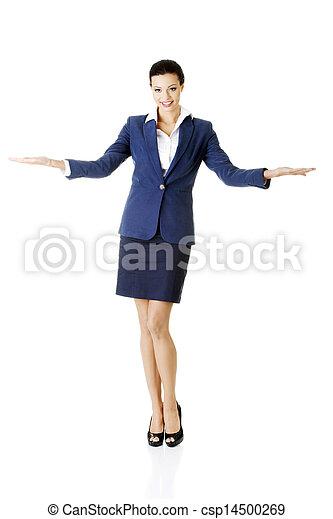 婦女, 她, 事務, 空間, 顯示, 年輕, 棕櫚, 模仿, 愉快 - csp14500269
