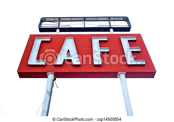 Cafe sign along historic Route 66 in Texas - csp14500854
