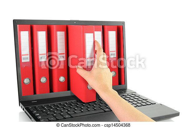 Laptop with red ring binders  - csp14504368