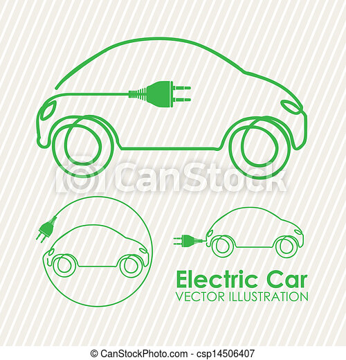 Vector Clipart Of Electric Car Design Over Lineal Background
