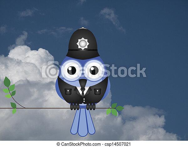 Comical bird policeman - csp14507021