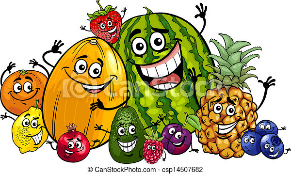 Vector de divertido, frutas, grupo, caricatura, Ilustración ...