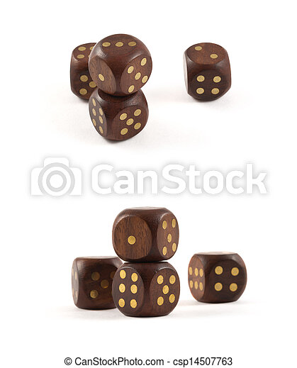 Gambling wooden dice isolated - csp14507763