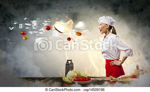 Illustration asiatique femme cuisinier col re for Cuisinier 3 etoiles legumes