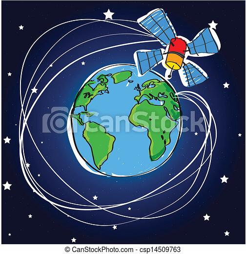 Clip Art de vectores de tierra, satélite, telecomunicación ...