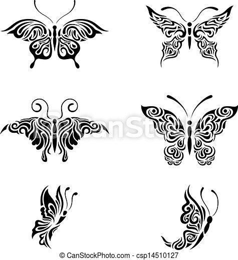 Illustration vecteur de blanc noir papillons collection for Dessin graphique noir et blanc