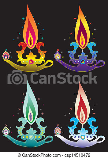 Vector Clip Art of Indian oil lamp - Stock Vector Illustration ...