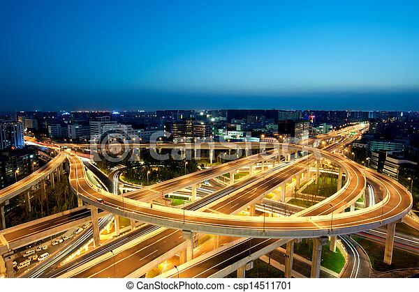 Chengdu, China, city overpass at night  - csp14511701