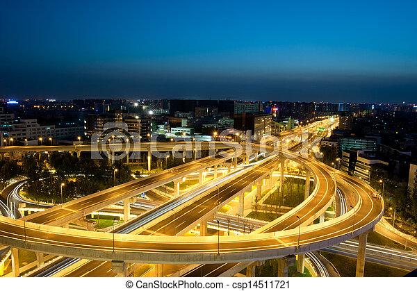 Chengdu, China, city overpass at night  - csp14511721