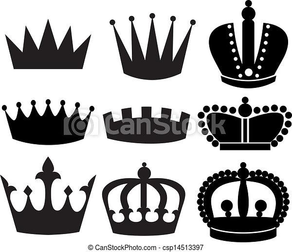 Vecteurs eps de couronne noir silhouette divers - Clipart couronne ...