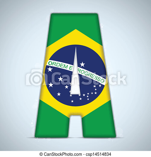 Brazil Flag Brazilian Alphabet Letters Words - csp14514834