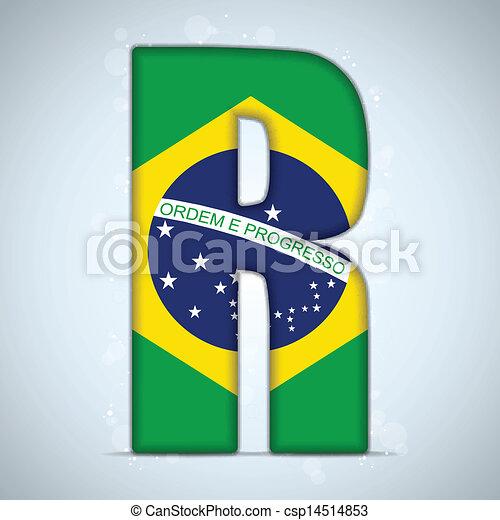 Brazil Flag Brazilian Alphabet Letters Words - csp14514853