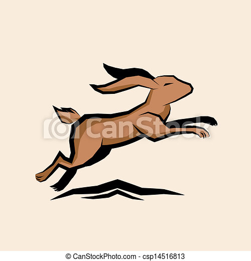 Jumping Hare Vector - csp14516813