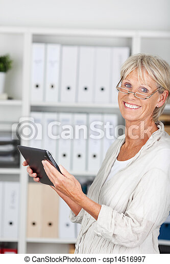 Older woman with tablet