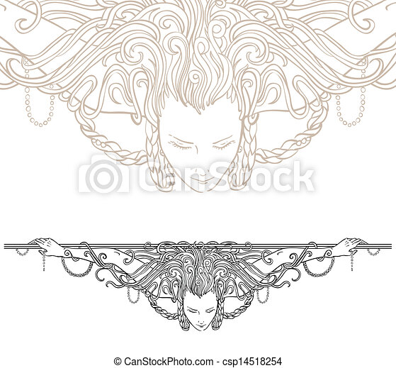 Detailed art-nouveau decorative divider - csp14518254