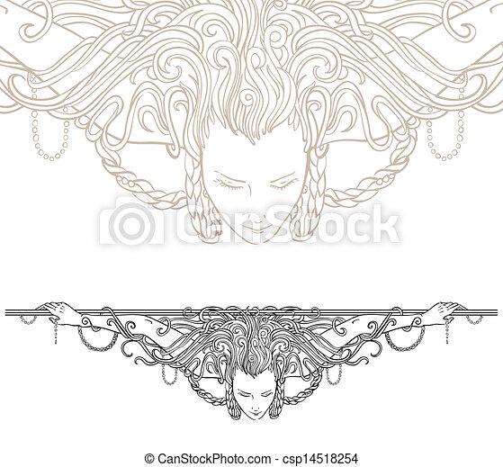 Detailed art-nouveau decorative divider - csp14518254
