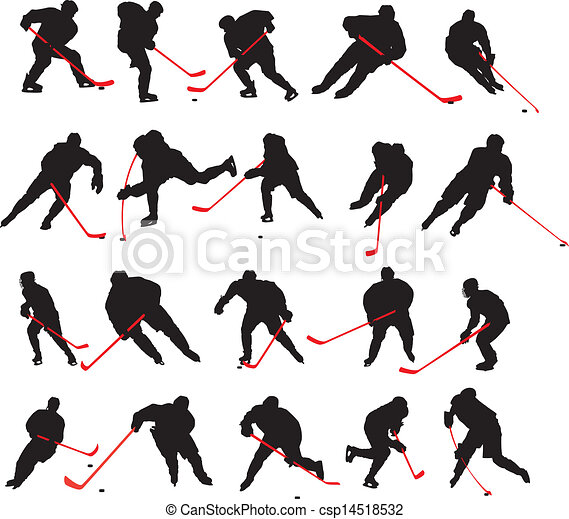 20 detail ice hockey poses - csp14518532