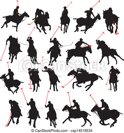 20 details polo player silhouette - csp14518534