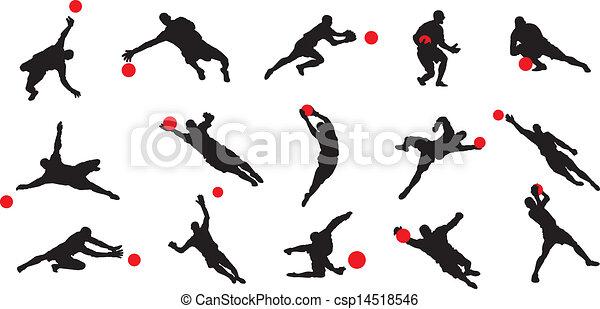 Vecteur eps de gardien football poses 15 but 15 but - Dessin gardien de but ...